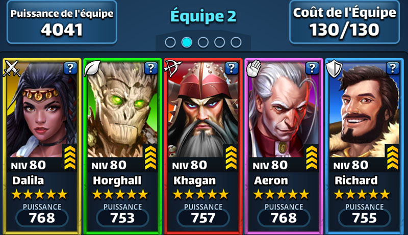 Mon équipe dans Empires and Puzzles