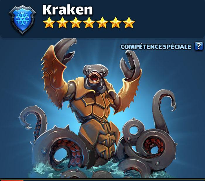 Le kraken dans Empires & Puzzles. Il s'agit en fait d'une sorte de poulpe