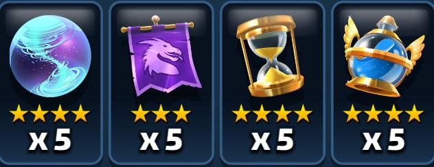 Les objets Tornade, bannière du dragon, arrêt du temps et super potion de mana dans Empires & Puzzles.