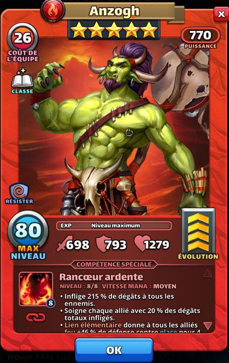 Un orc dans Empires & Puzzles. C'est Anzogh, le héros du mois d'avril 2019.