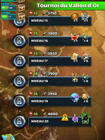 Exemple de quête événement dans Empires & Puzzles : Le tournoi du Vallon d'or