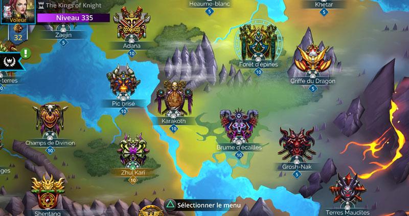 Partie de la carte du monde dans Gems Of War avec des royaumes