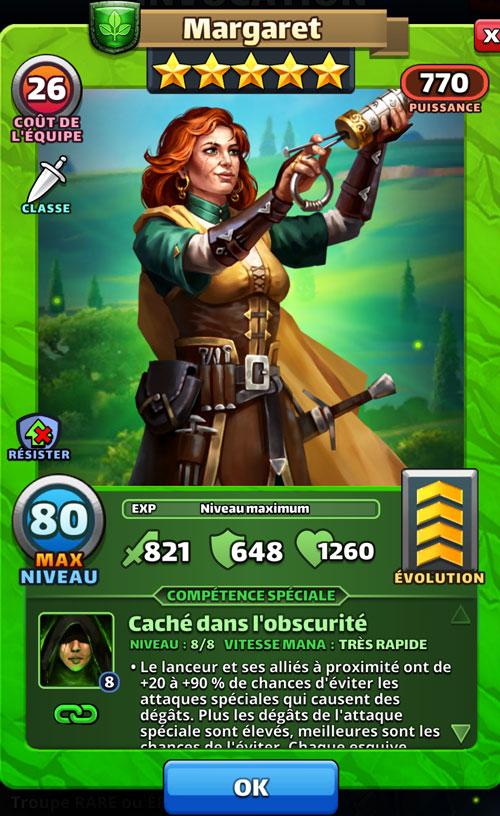 Margaret du jeu Empires & Puzzles qui tient un cryptex