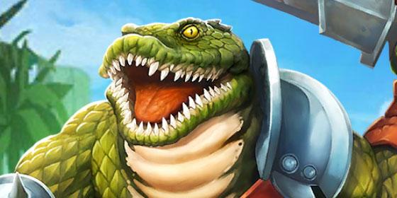 Une belle double rangée de dents pour Gato, le crocodile humanoïde, dans Empires & Puzzles.