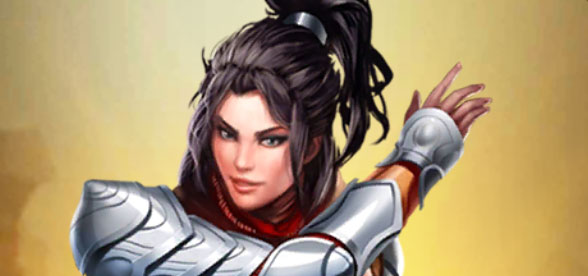 Li Xiu dans Empires & Puzzles. Une longue chevelure noire et des protections argentées.