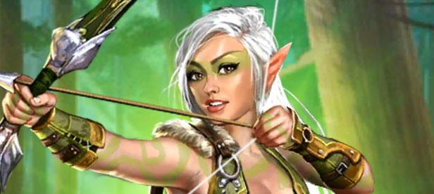 Lianna tient fièrement son arc. Cet elfe aux cheveux d'argent va faire mal dans Empires & Puzzles