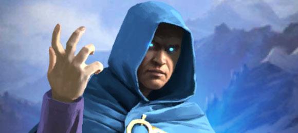 Ulmer, bâton en main et regard glacial, s'apprête à lancer son blizzard dans Empires & Puzzles