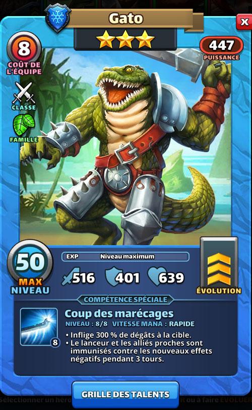 Epée à la main et avec deux grandes rangées de dents, Gato est un crocodile humanoïde dans Empires & Puzzles