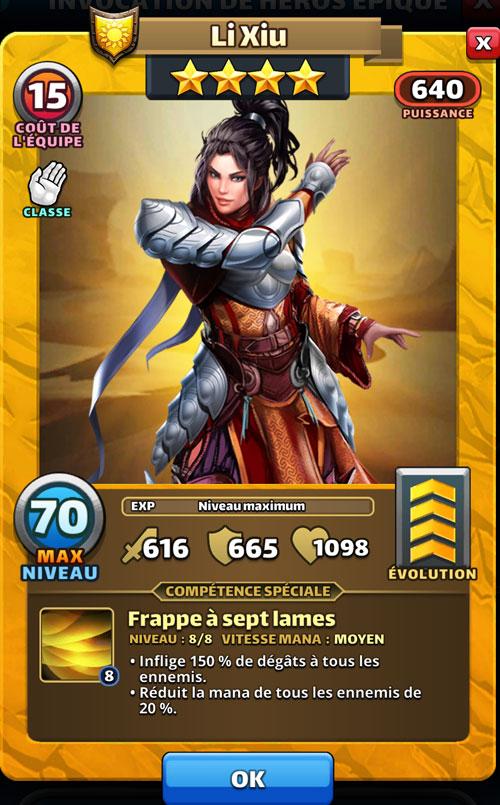 Véritable caillou dans la chaussure, Li Xiu avec son armure et ses longs cheveux noirs retardera les adversaires avec sa compétence dans Empires & Puzzles.
