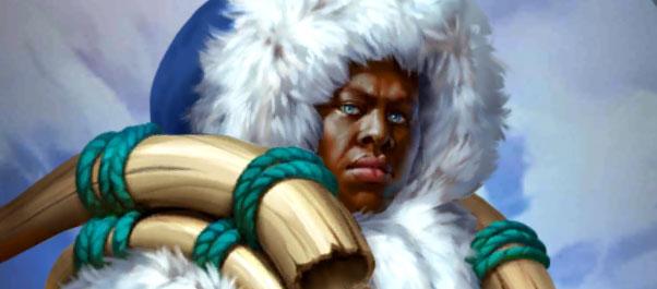 Miki dans Empires & Puzzles, le héros solitaire et barbare avec sa grosse épée en os.