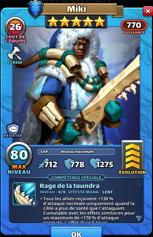 Un guerrier solitaire. Miki tient une grosse épée en os avec une fourrure épaisse sur le dos dans Empires & Puzzles.