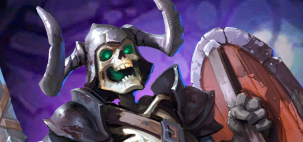 Oberon, héros violet 3 étoiles sur Empires & Puzzles. Squelette qui tient une épée et un bouclier.