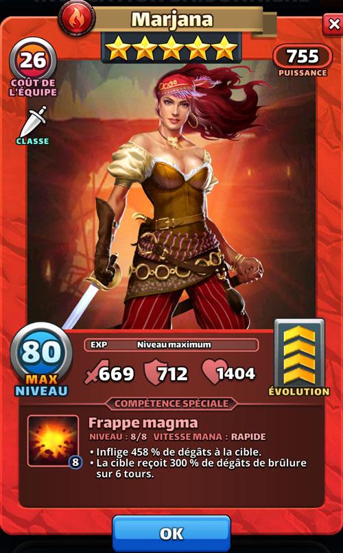 Marjana est avec un bandana, cheveux rouges au vent et sabre à la main. C'est une pirate et elle fait mal dans Empires & Puzzles.