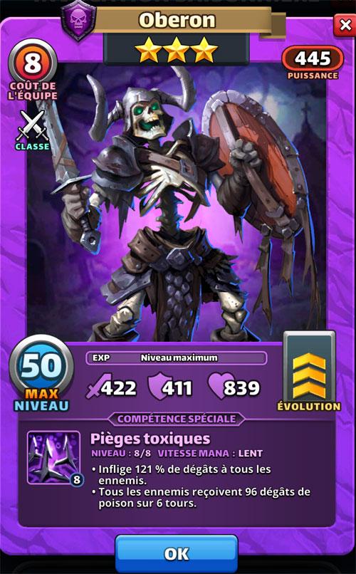 Oberon est un squelette 3 étoiles violet dans Empires & Puzzles. Il tient un bouclier et une épée.