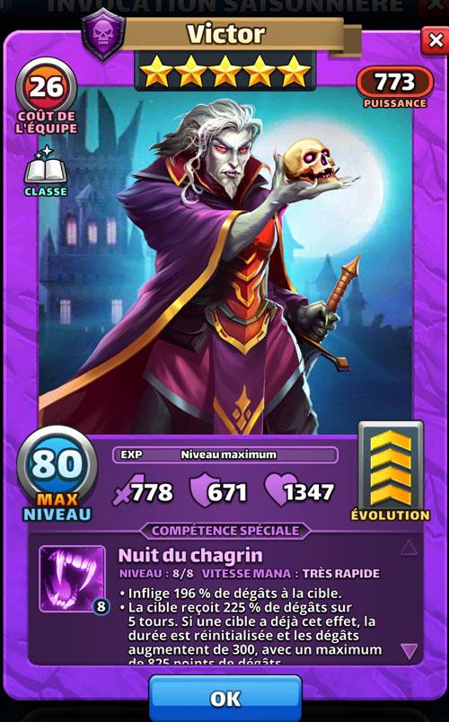 Victor est un vampire dans Empires & Puzzles. Il tient un crâne et une épée.